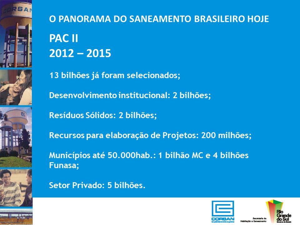 O PANORAMA DO SANEAMENTO BRASILEIRO HOJE PAC II 2012 – 2015 13 bilhões já foram selecionados; Desenvolvimento institucional: 2 bilhões; Resíduos Sólid