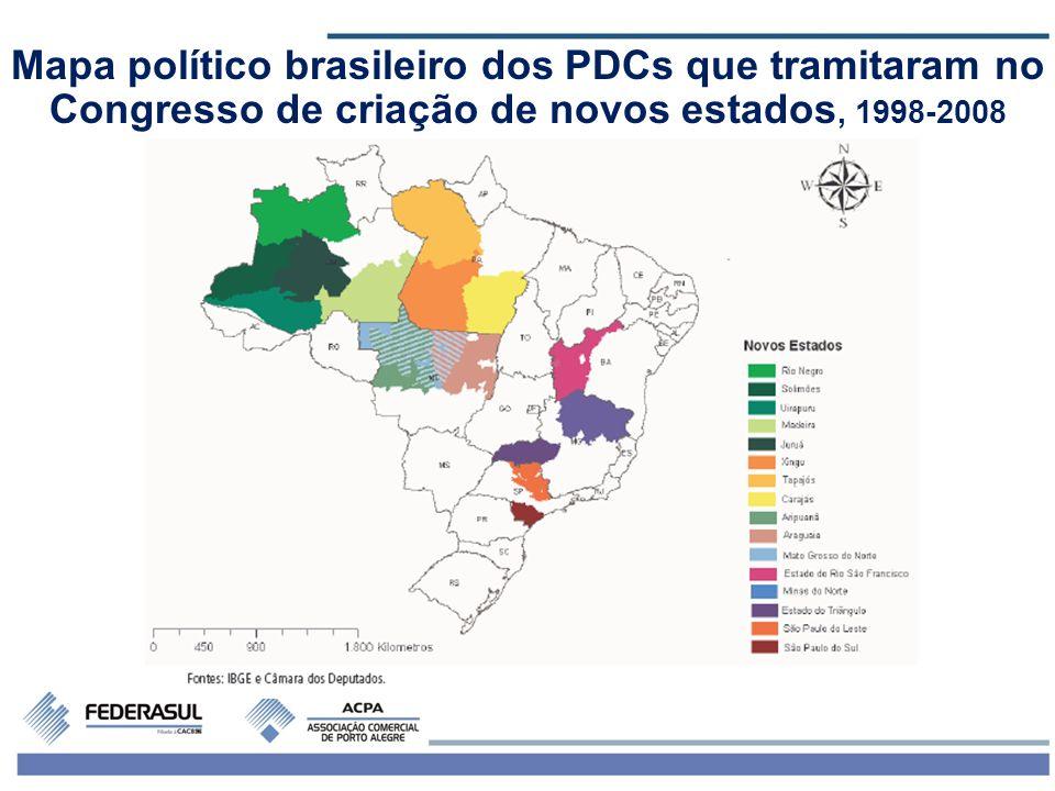 5 Mapa político brasileiro dos PDCs que tramitaram no Congresso de criação de novos estados, 1998-2008