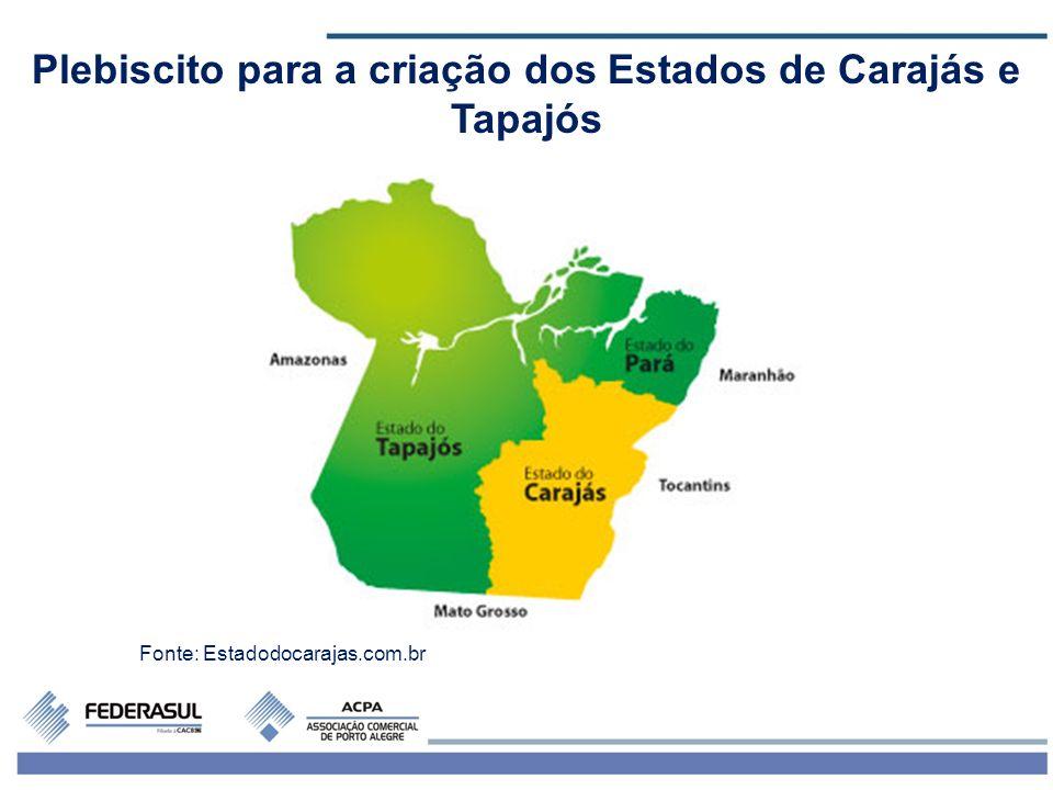 6 Plebiscito para a criação dos Estados de Carajás e Tapajós Fonte: Estadodocarajas.com.br