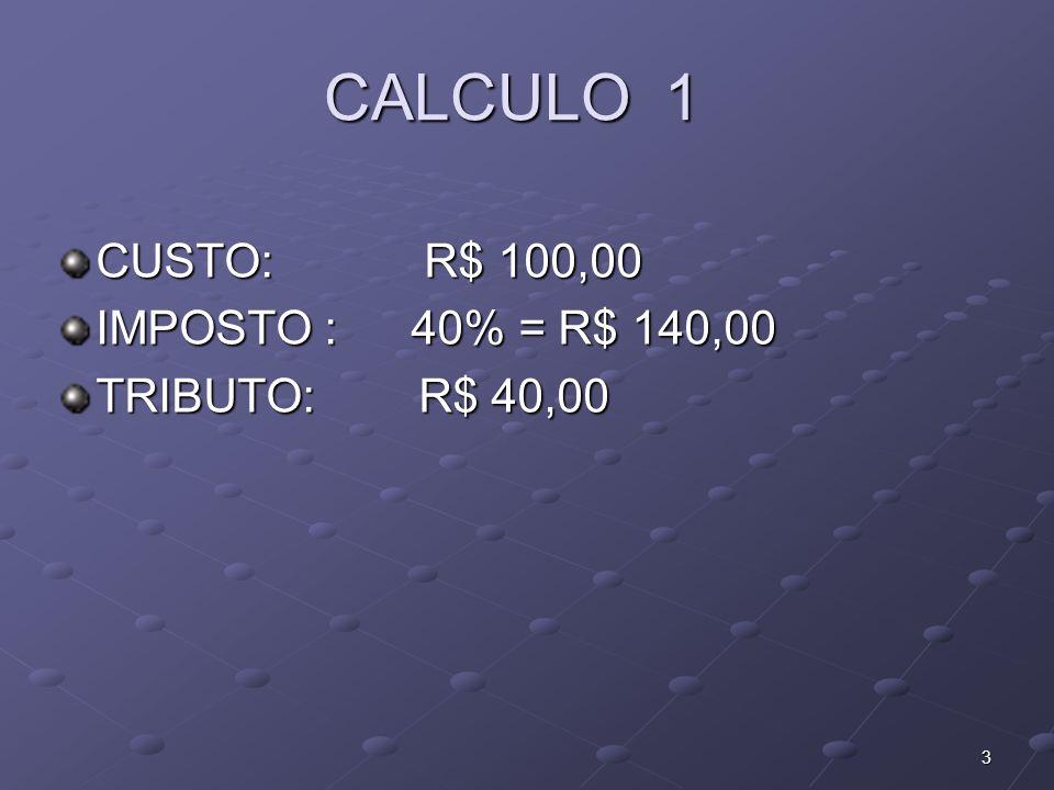 CALCULO 1 CUSTO: R$ 100,00 IMPOSTO : 40% = R$ 140,00 TRIBUTO: R$ 40,00 3