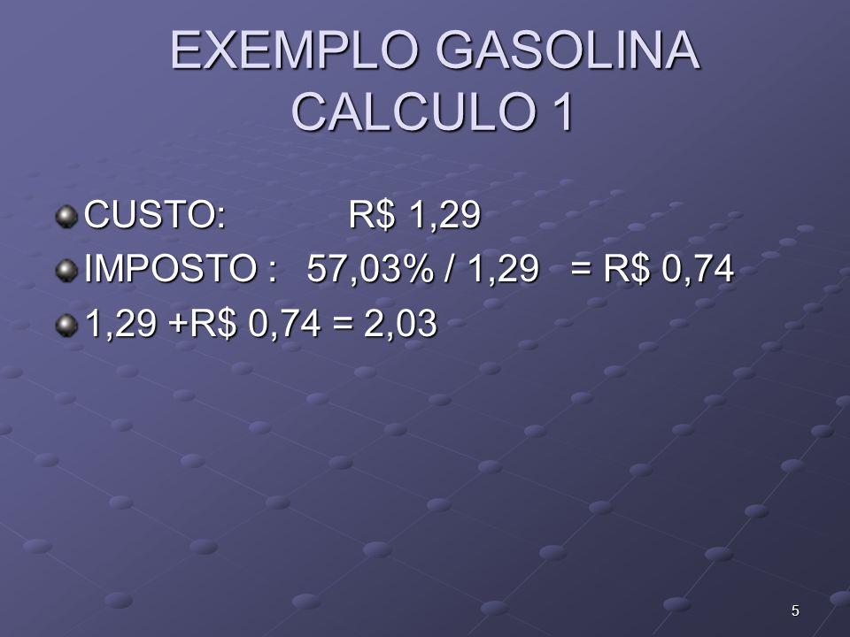 CALCULO 2 CUSTO: R$ 1,29 IMPOSTO :57 % / VENDA R$ 1,29 / 0,43 = R$ 3,00 TRIBUTO = 1,71 = 133 % 6
