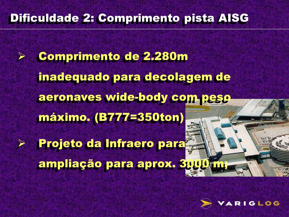 Dificuldade 2: Comprimento pista AISG Comprimento de 2.280m inadequado para decolagem de aeronaves wide-body com peso máximo. (B777=350ton) Projeto da
