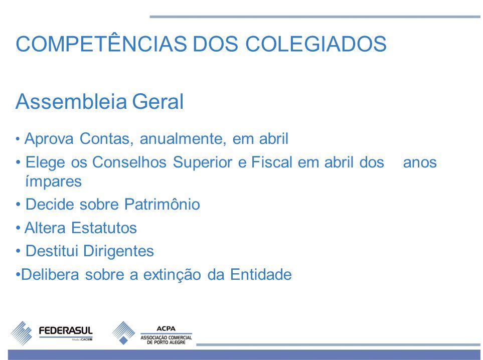 Assembleia Geral Aprova Contas, anualmente, em abril Elege os Conselhos Superior e Fiscal em abril dos anos ímpares Decide sobre Patrimônio Altera Est