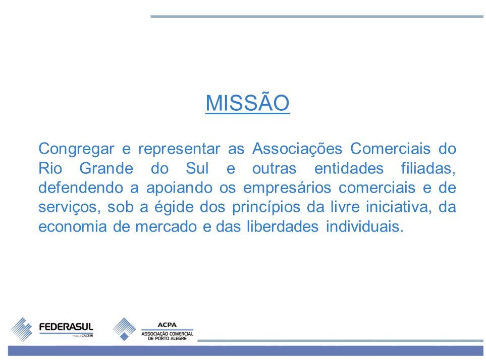 MISSÃO Congregar e representar as Associações Comerciais do Rio Grande do Sul e outras entidades filiadas, defendendo a apoiando os empresários comerc