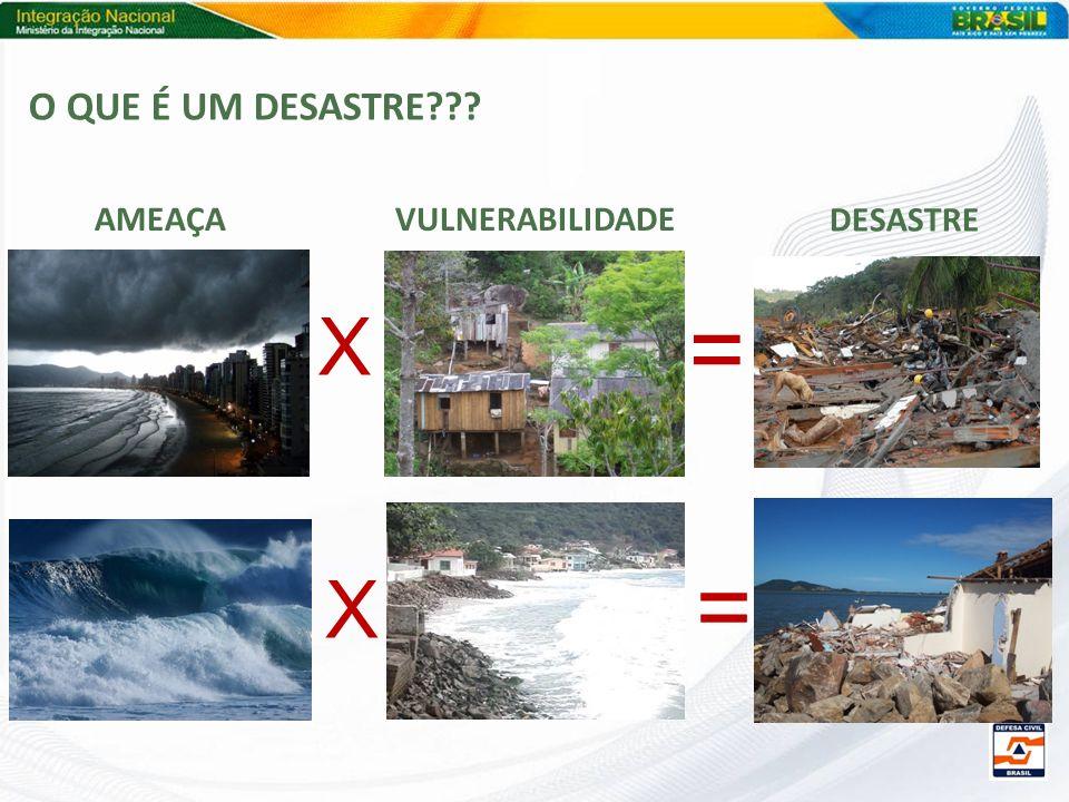 O QUE É UM DESASTRE??? X = X = AMEAÇAVULNERABILIDADE DESASTRE