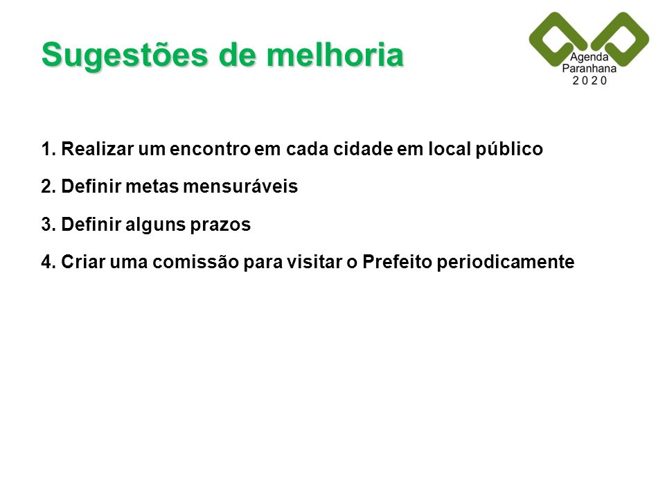 Sugestões de melhoria 1. Realizar um encontro em cada cidade em local público 2. Definir metas mensuráveis 3. Definir alguns prazos 4. Criar uma comis
