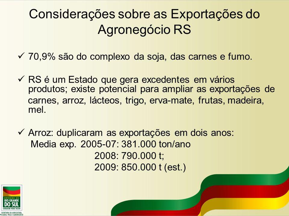 Considerações sobre as Exportações do Agronegócio RS 70,9% são do complexo da soja, das carnes e fumo. RS é um Estado que gera excedentes em vários pr