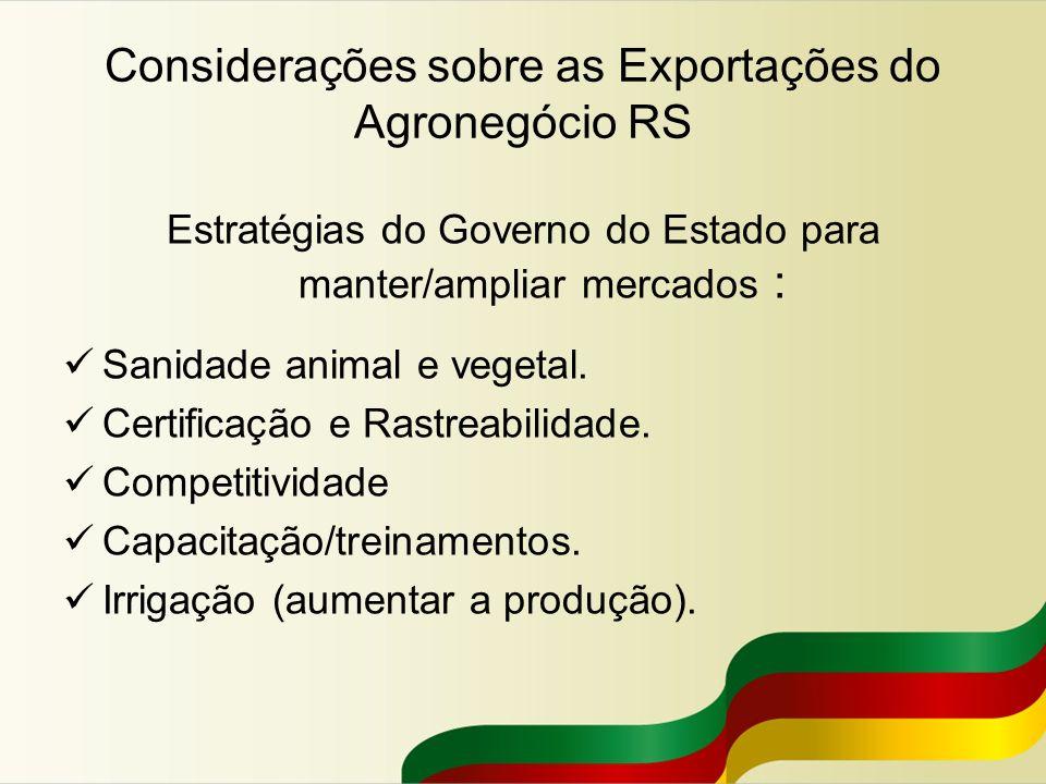 Considerações sobre as Exportações do Agronegócio RS Estratégias do Governo do Estado para manter/ampliar mercados : Sanidade animal e vegetal. Certif