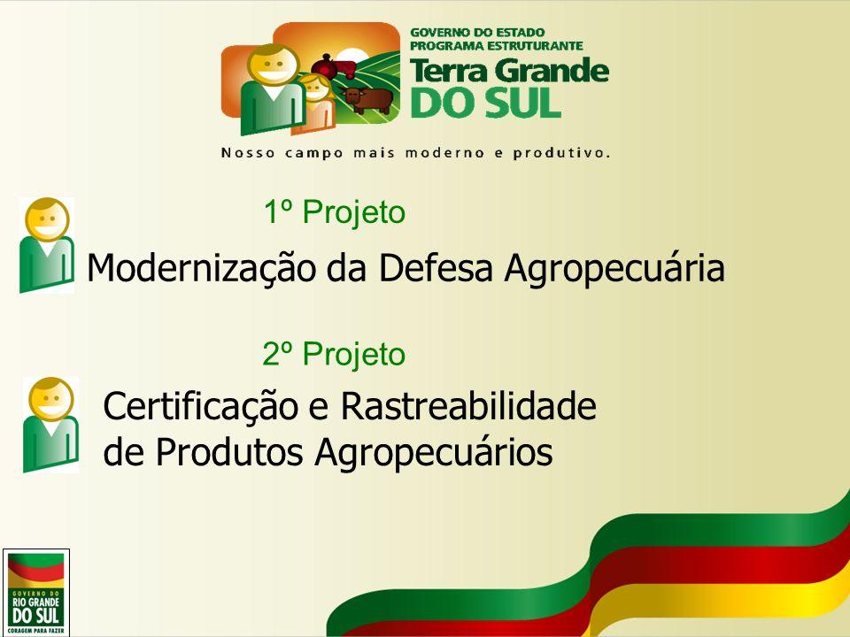 1º Projeto Modernização da Defesa Agropecuária 2º Projeto Certificação e Rastreabilidade de Produtos Agropecuários