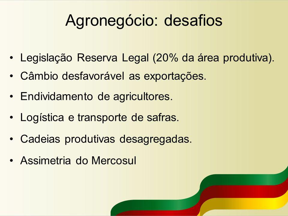 Agronegócio: desafios Legislação Reserva Legal (20% da área produtiva). Câmbio desfavorável as exportações. Endividamento de agricultores. Logística e