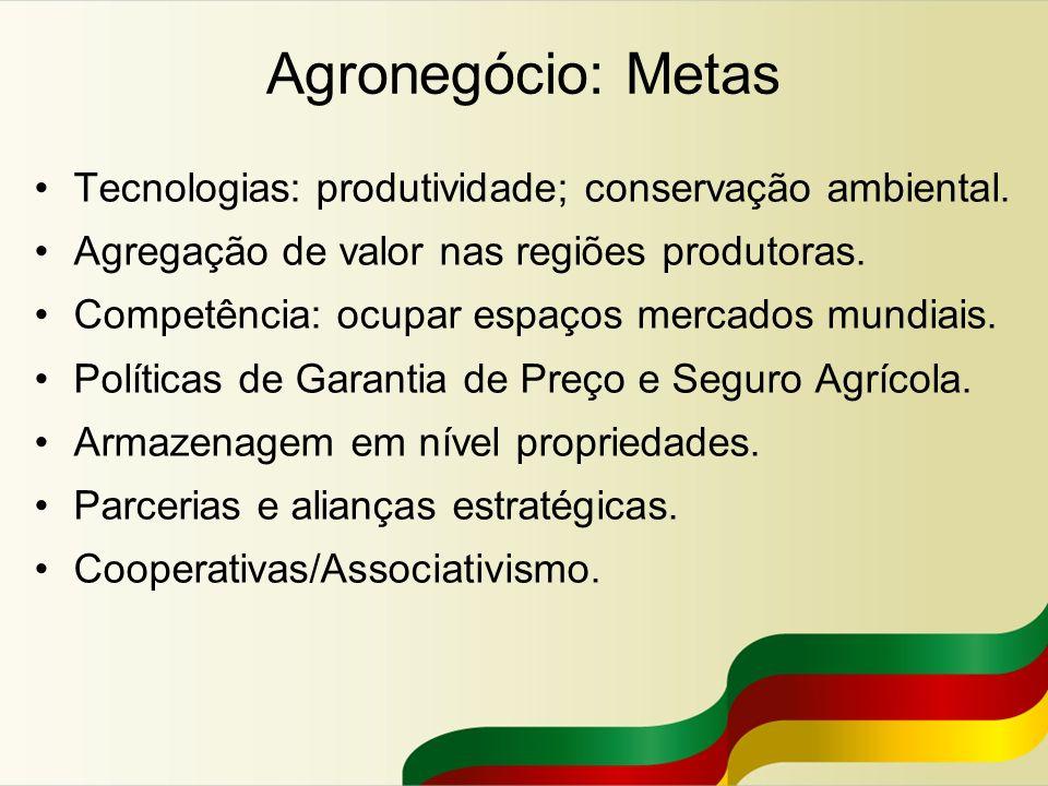 Agronegócio: Metas Tecnologias: produtividade; conservação ambiental. Agregação de valor nas regiões produtoras. Competência: ocupar espaços mercados