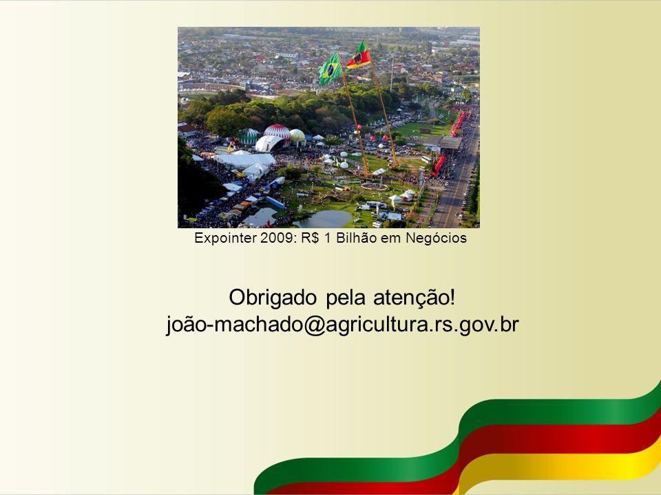 Expointer 2009: R$ 1 Bilhão em Negócios Obrigado pela atenção! joão-machado@agricultura.rs.gov.br