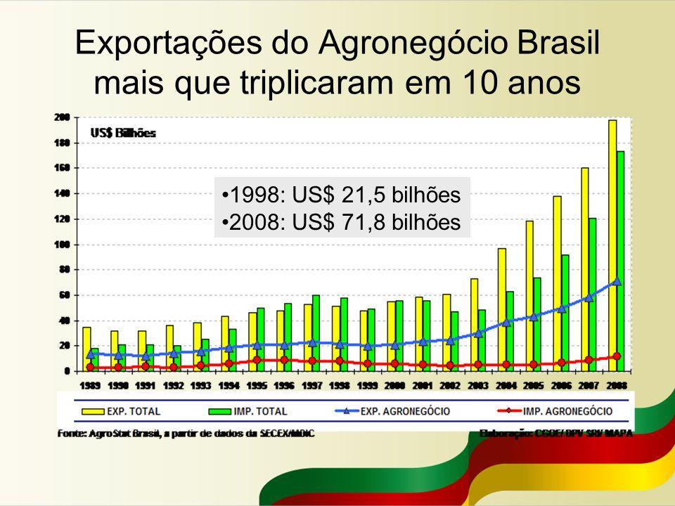 Exportações do Agronegócio Brasil mais que triplicaram em 10 anos 1998: US$ 21,5 bilhões 2008: US$ 71,8 bilhões