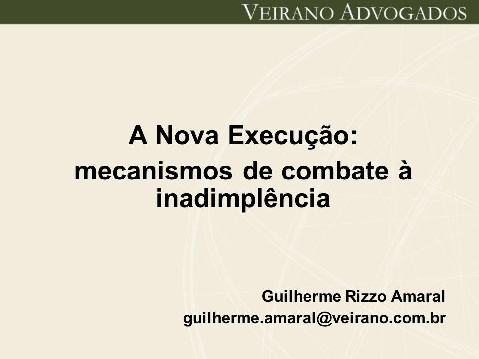 A Nova Execução: mecanismos de combate à inadimplência Guilherme Rizzo Amaral guilherme.amaral@veirano.com.br