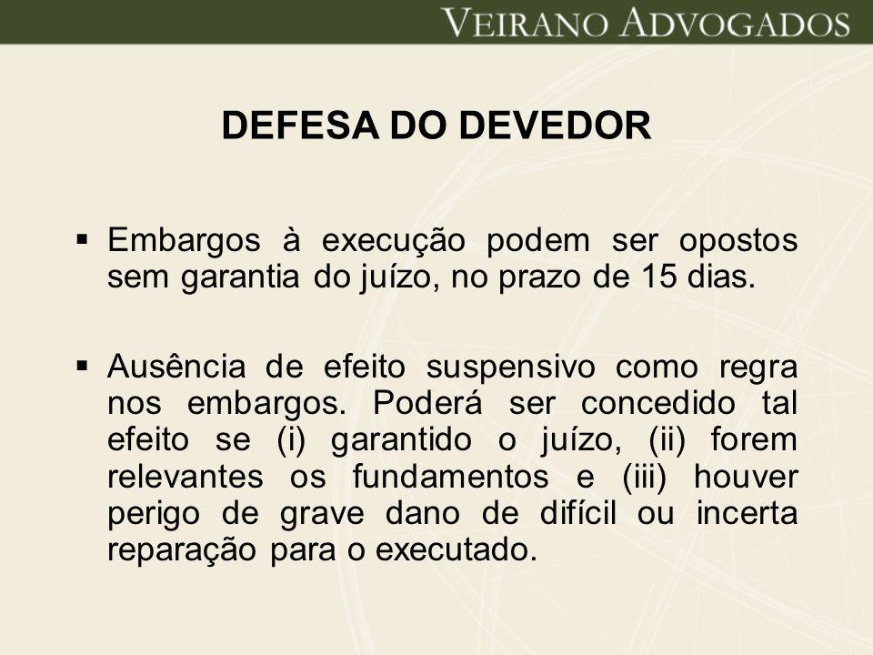 DEFESA DO DEVEDOR Embargos à execução podem ser opostos sem garantia do juízo, no prazo de 15 dias. Ausência de efeito suspensivo como regra nos embar