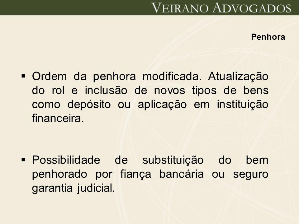 Penhora Ordem da penhora modificada. Atualização do rol e inclusão de novos tipos de bens como depósito ou aplicação em instituição financeira. Possib