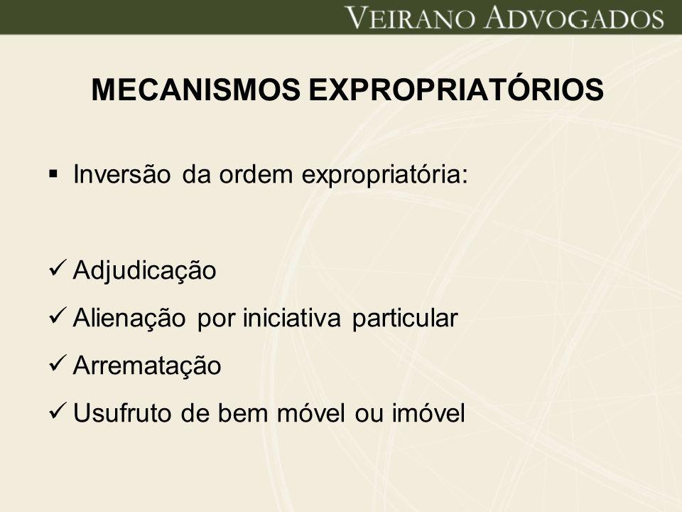 MECANISMOS EXPROPRIATÓRIOS Inversão da ordem expropriatória: Adjudicação Alienação por iniciativa particular Arrematação Usufruto de bem móvel ou imóv