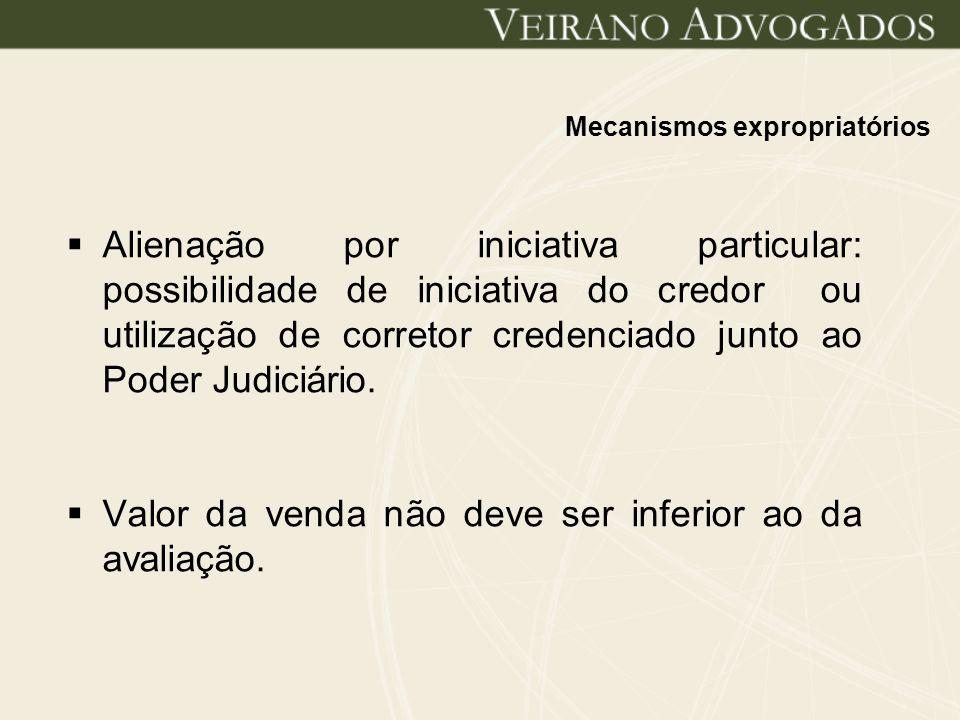 Mecanismos expropriatórios Alienação por iniciativa particular: possibilidade de iniciativa do credor ou utilização de corretor credenciado junto ao P