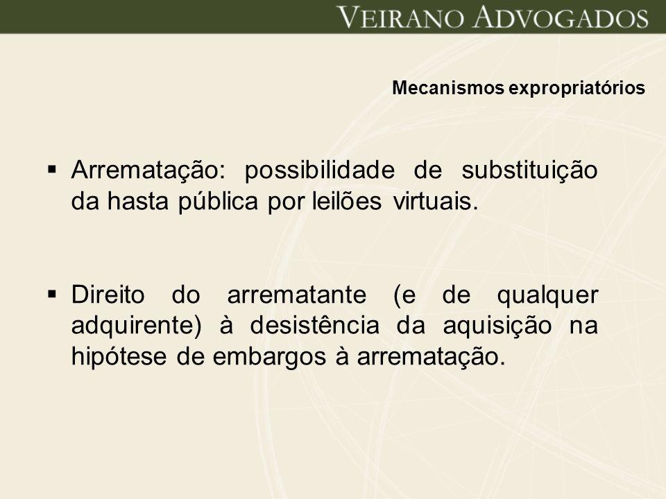 Mecanismos expropriatórios Arrematação: possibilidade de substituição da hasta pública por leilões virtuais. Direito do arrematante (e de qualquer adq