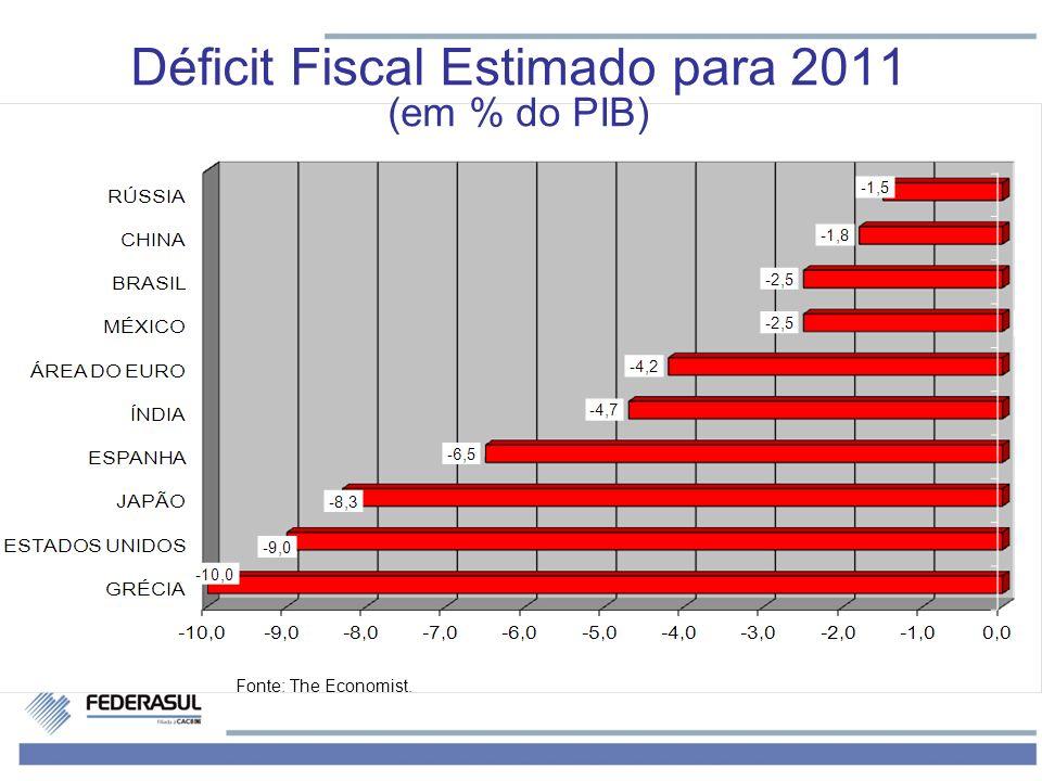 Déficit Fiscal Estimado para 2011 (em % do PIB) Fonte: The Economist.