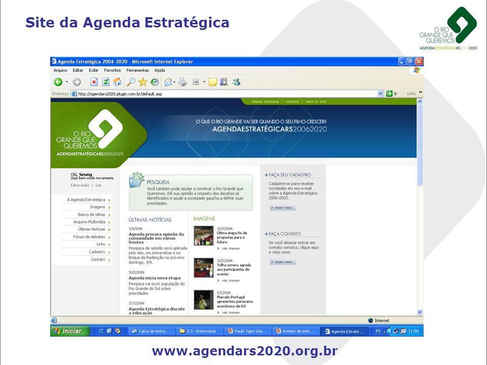 Site da Agenda Estratégica www.agendars2020.org.br