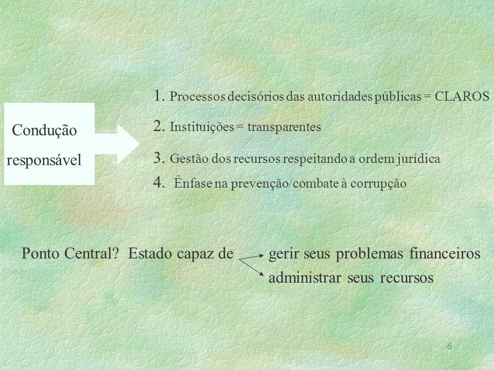 6 1. Processos decisórios das autoridades públicas = CLAROS 2. Instituições = transparentes 3. Gestão dos recursos respeitando a ordem jurídica 4. Ênf