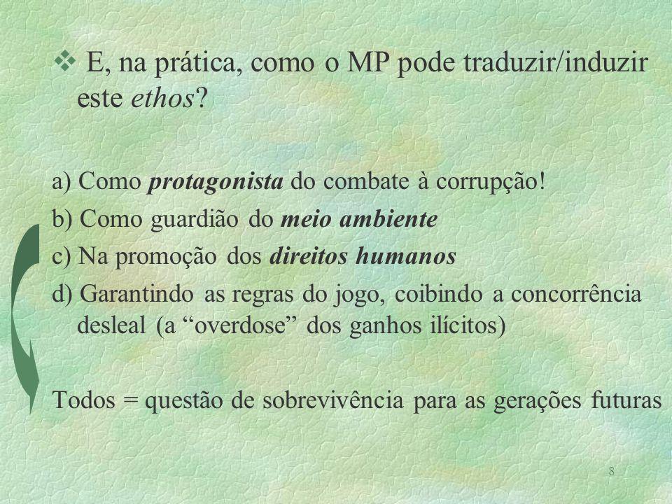 8 v E, na prática, como o MP pode traduzir/induzir este ethos? a) Como protagonista do combate à corrupção! b) Como guardião do meio ambiente c) Na pr