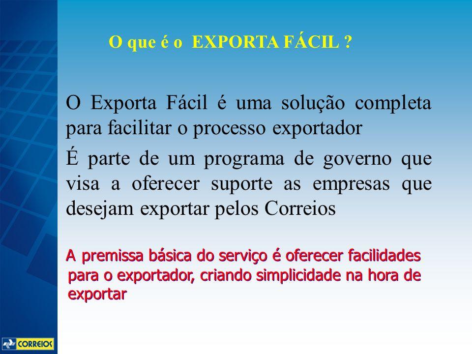 O Exporta Fácil é uma solução completa para facilitar o processo exportador É parte de um programa de governo que visa a oferecer suporte as empresas