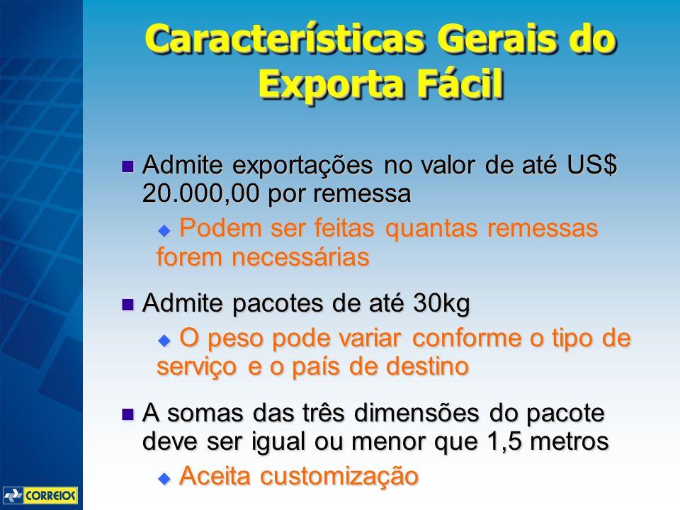 Admite exportações no valor de até US$ 20.000,00 por remessa Admite exportações no valor de até US$ 20.000,00 por remessa Podem ser feitas quantas rem