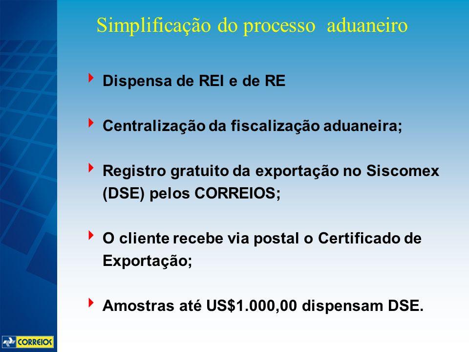 Dispensa de REI e de RE Centralização da fiscalização aduaneira; Registro gratuito da exportação no Siscomex (DSE) pelos CORREIOS; O cliente recebe via postal o Certificado de Exportação; Amostras até US$1.000,00 dispensam DSE.