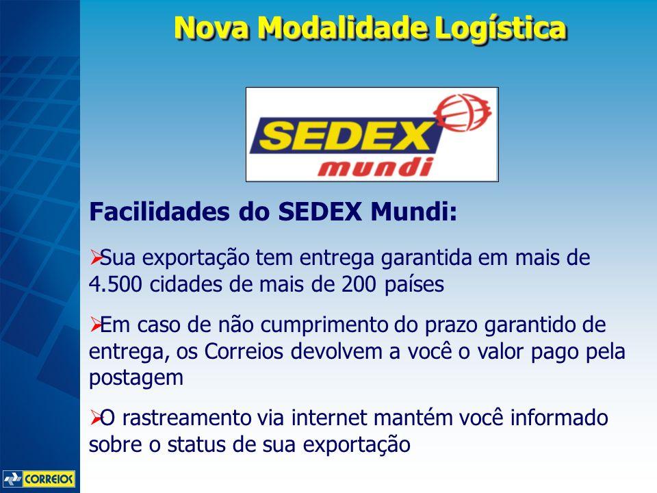 Nova Modalidade Logística Facilidades do SEDEX Mundi: Sua exportação tem entrega garantida em mais de 4.500 cidades de mais de 200 países Em caso de n