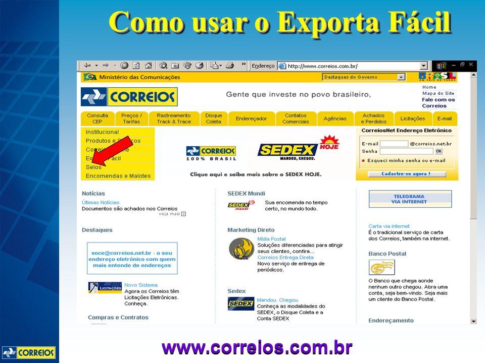 www.correios.com.br Como usar o Exporta Fácil