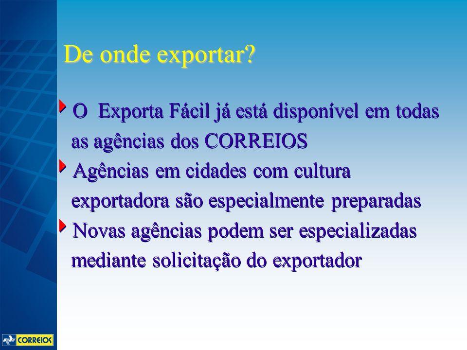 O Exporta Fácil já está disponível em todas as agências dos CORREIOS Agências em cidades com cultura exportadora são especialmente preparadas Novas ag