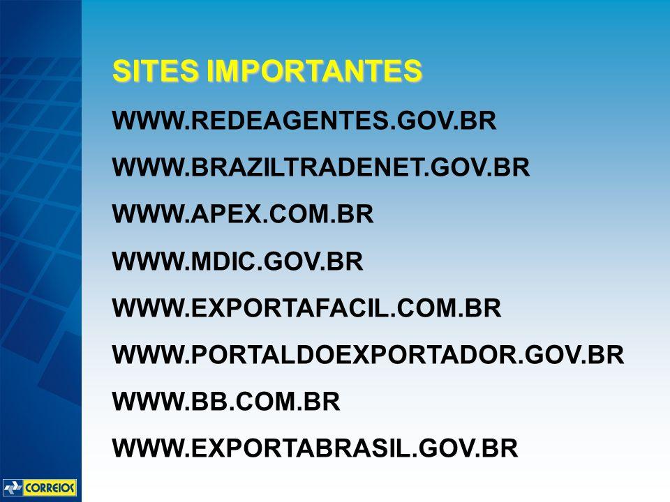 SITES IMPORTANTES WWW.REDEAGENTES.GOV.BR WWW.BRAZILTRADENET.GOV.BR WWW.APEX.COM.BR WWW.MDIC.GOV.BR WWW.EXPORTAFACIL.COM.BR WWW.PORTALDOEXPORTADOR.GOV.