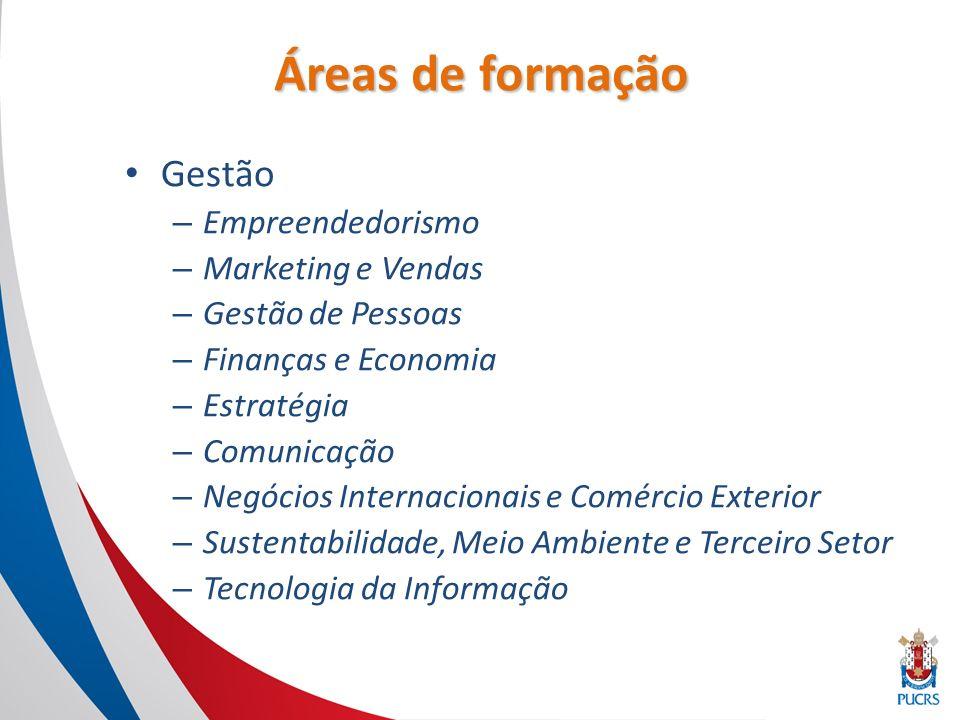Áreas de formação Gestão – Empreendedorismo – Marketing e Vendas – Gestão de Pessoas – Finanças e Economia – Estratégia – Comunicação – Negócios Internacionais e Comércio Exterior – Sustentabilidade, Meio Ambiente e Terceiro Setor – Tecnologia da Informação