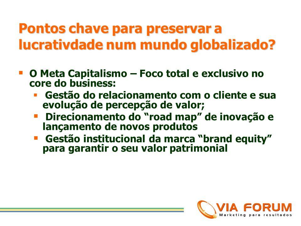 Pontos chave para preservar a lucrativdade num mundo globalizado? 1. Criar Estratégia para Facilitar os Negócios do Cliente com sua Empresa; 2. Enfoca