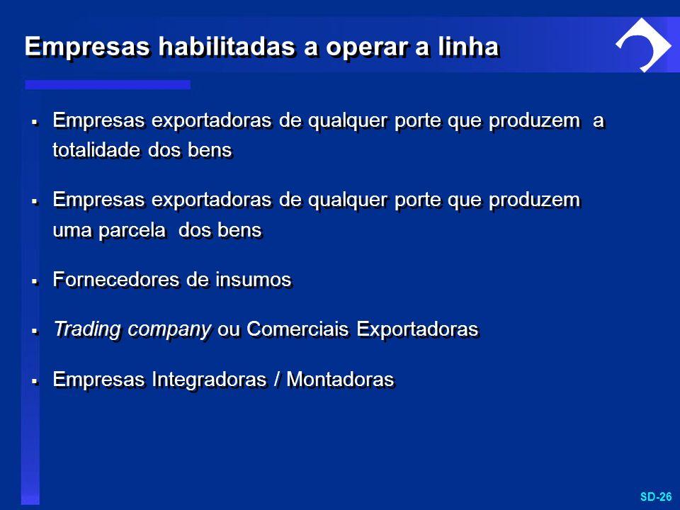 SD-26 Empresas exportadoras de qualquer porte que produzem a totalidade dos bens Empresas exportadoras de qualquer porte que produzem uma parcela dos
