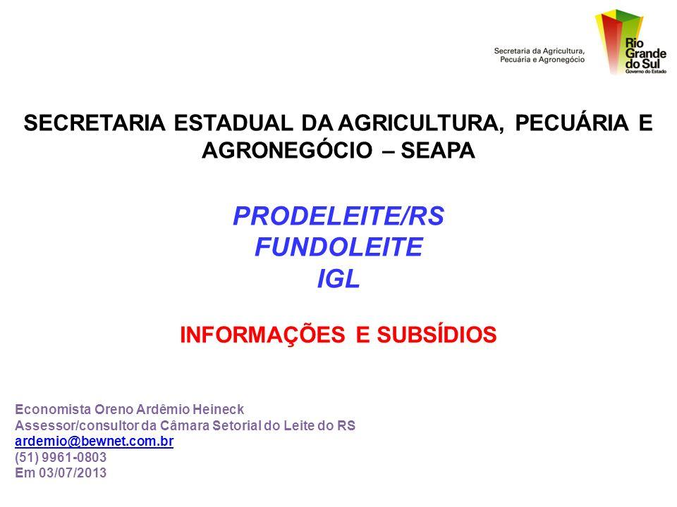 PRODELEITE - REGRAMENTO - I G L - FUNCIONAMENTO - FUNDOLEITE - FINANCIAMENTO -
