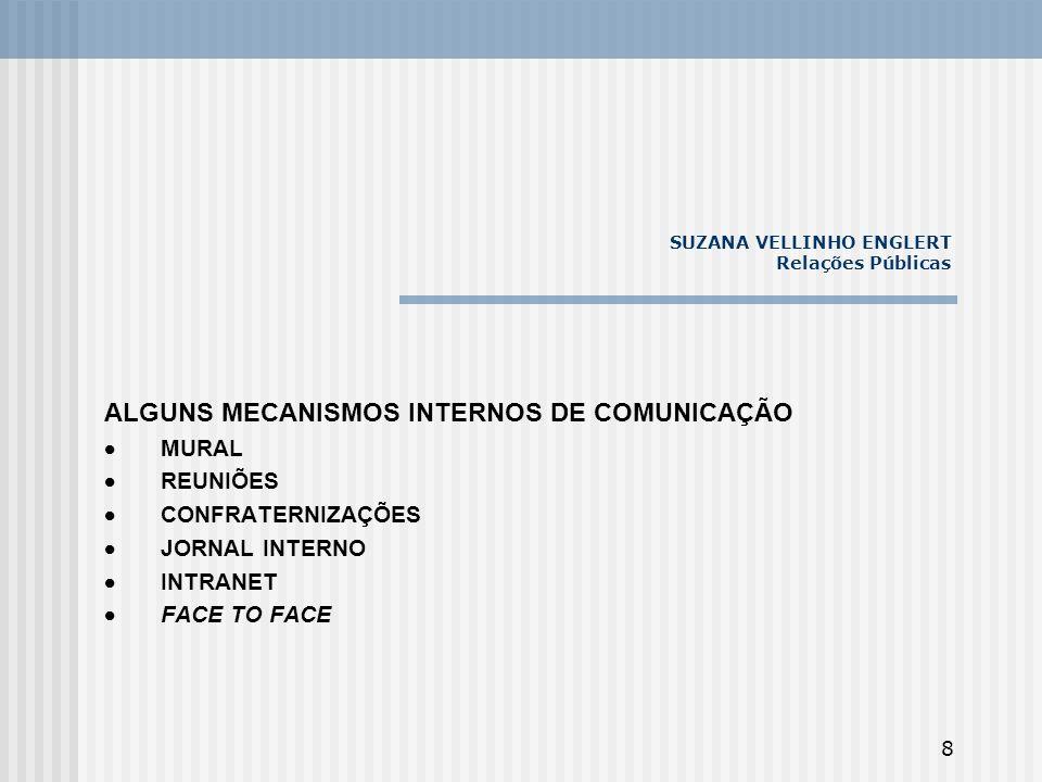 8 SUZANA VELLINHO ENGLERT Relações Públicas ALGUNS MECANISMOS INTERNOS DE COMUNICAÇÃO MURAL REUNIÕES CONFRATERNIZAÇÕES JORNAL INTERNO INTRANET FACE TO