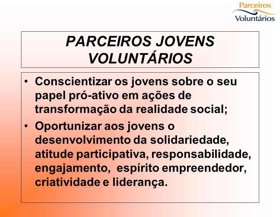 PARCEIROS JOVENS VOLUNTÁRIOS Conscientizar os jovens sobre o seu papel pró-ativo em ações de transformação da realidade social; Oportunizar aos jovens