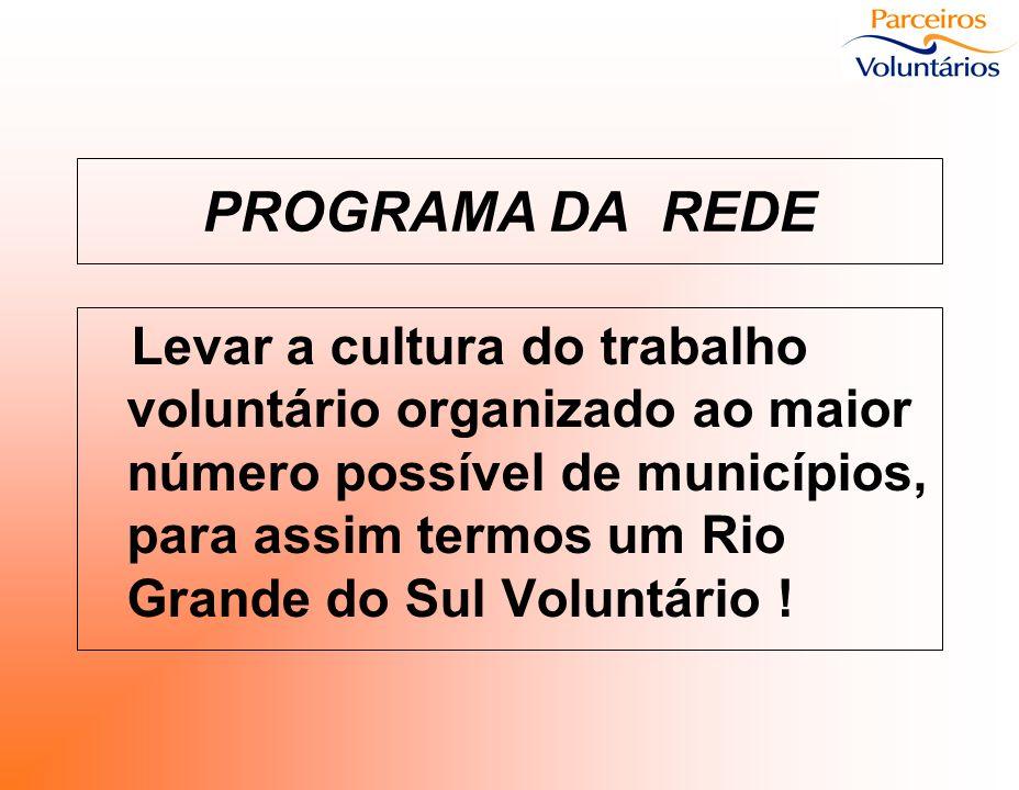 PROGRAMA DA REDE Levar a cultura do trabalho voluntário organizado ao maior número possível de municípios, para assim termos um Rio Grande do Sul Volu