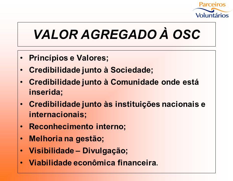 VALOR AGREGADO À OSC Princípios e Valores; Credibilidade junto à Sociedade; Credibilidade junto à Comunidade onde está inserida; Credibilidade junto à