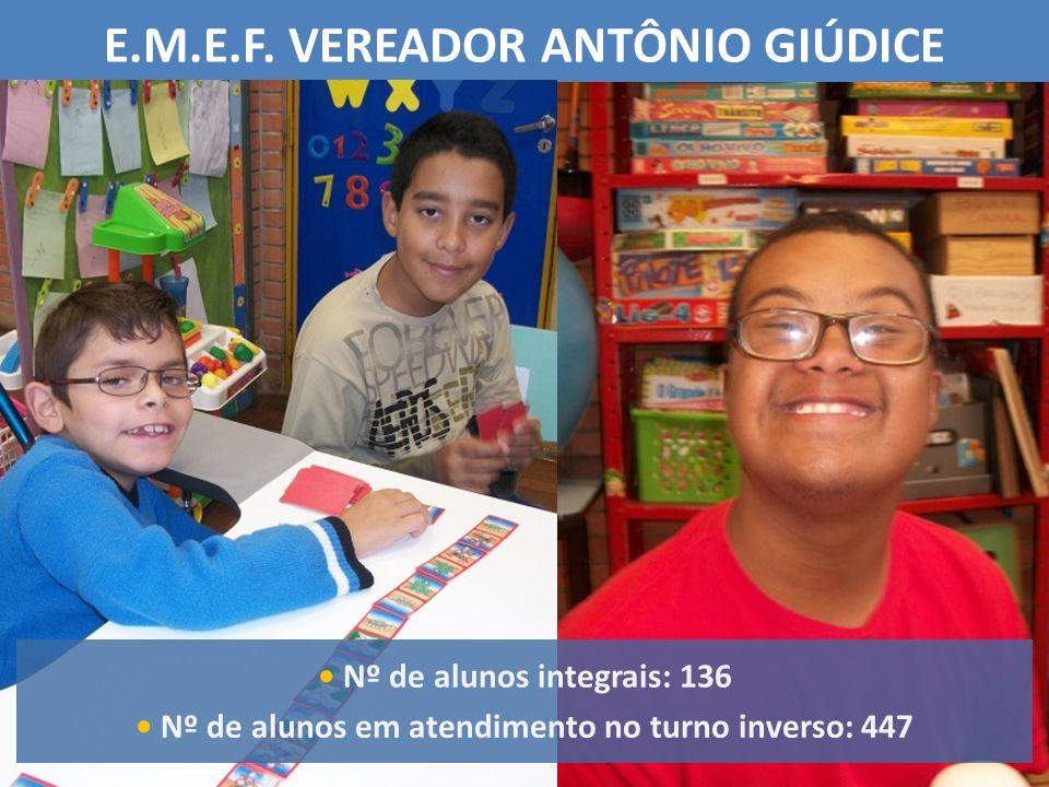 E.M.E.F. VEREADOR ANTÔNIO GIÚDICE Nº de alunos integrais: 136 Nº de alunos em atendimento no turno inverso: 447
