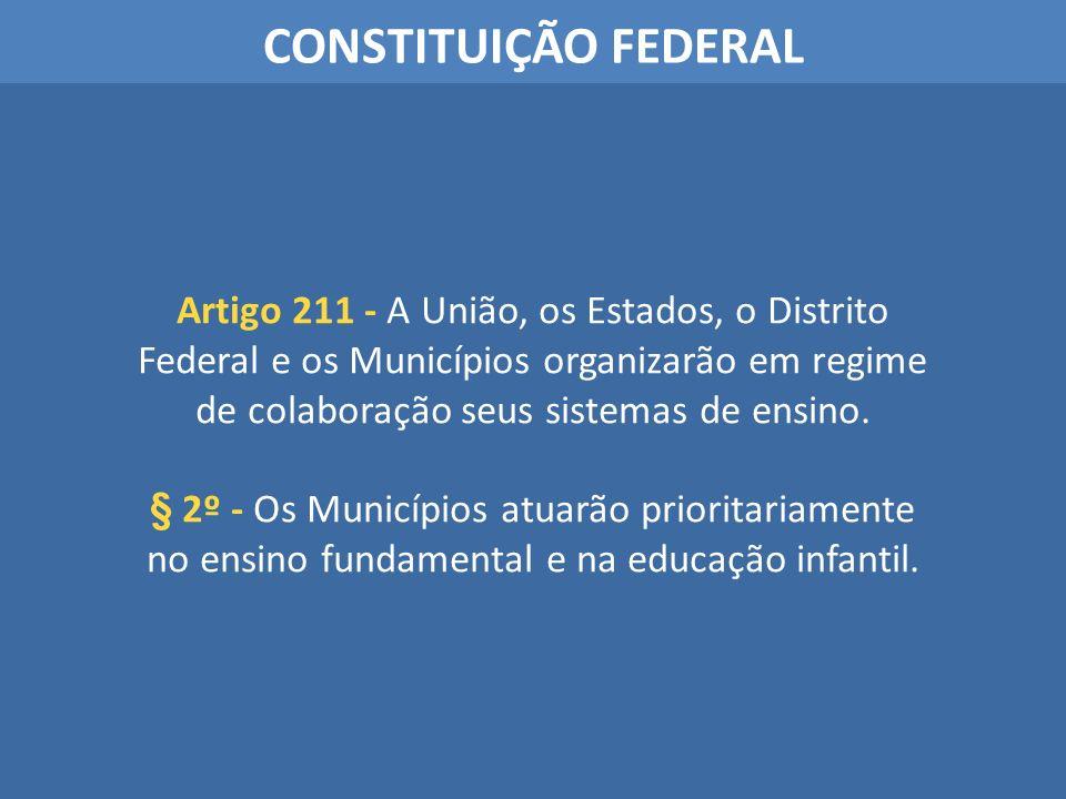 CONSTITUIÇÃO FEDERAL Artigo 211 - A União, os Estados, o Distrito Federal e os Municípios organizarão em regime de colaboração seus sistemas de ensino