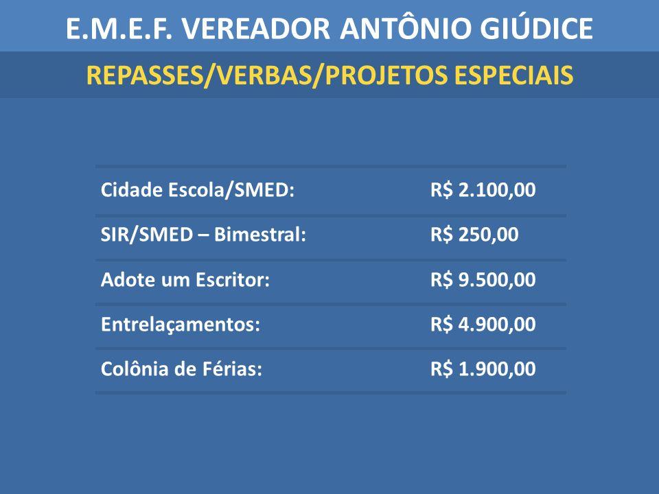 Cidade Escola/SMED: R$ 2.100,00 SIR/SMED – Bimestral: R$ 250,00 Adote um Escritor: R$ 9.500,00 Entrelaçamentos: R$ 4.900,00 Colônia de Férias: R$ 1.90