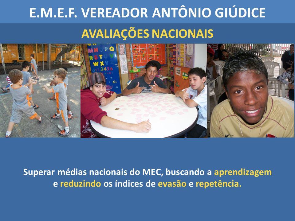 Superar médias nacionais do MEC, buscando a aprendizagem e reduzindo os índices de evasão e repetência. E.M.E.F. VEREADOR ANTÔNIO GIÚDICE AVALIAÇÕES N