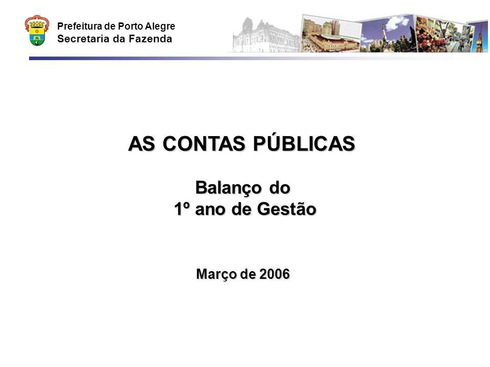 Prefeitura de Porto Alegre Secretaria da Fazenda AS CONTAS PÚBLICAS Balanço do 1º ano de Gestão Março de 2006