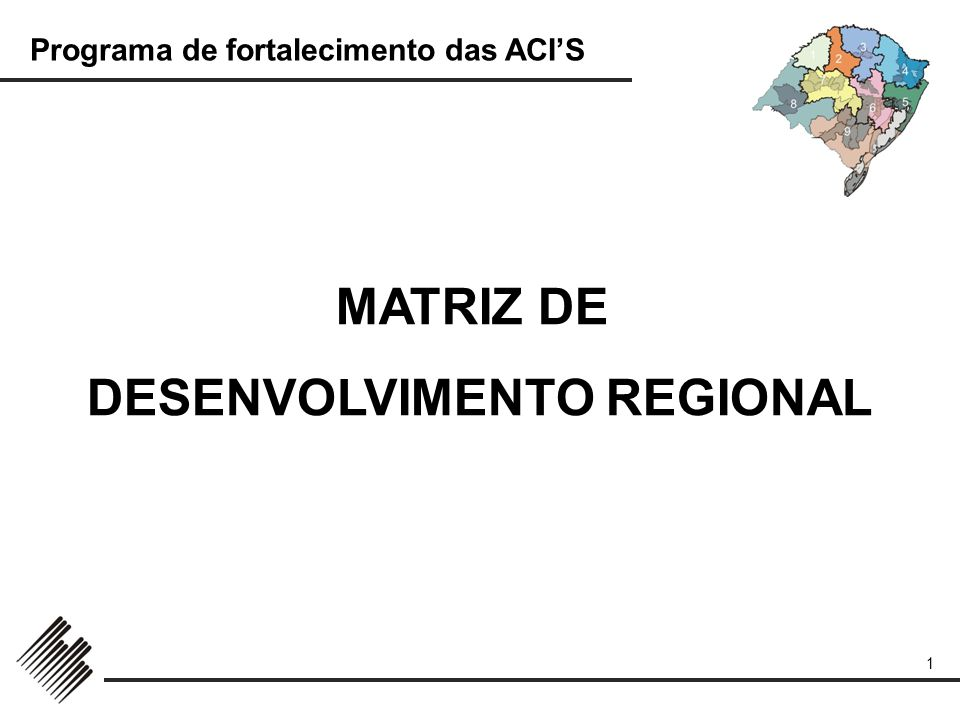 Programa de fortalecimento das ACIS 1 MATRIZ DE DESENVOLVIMENTO REGIONAL