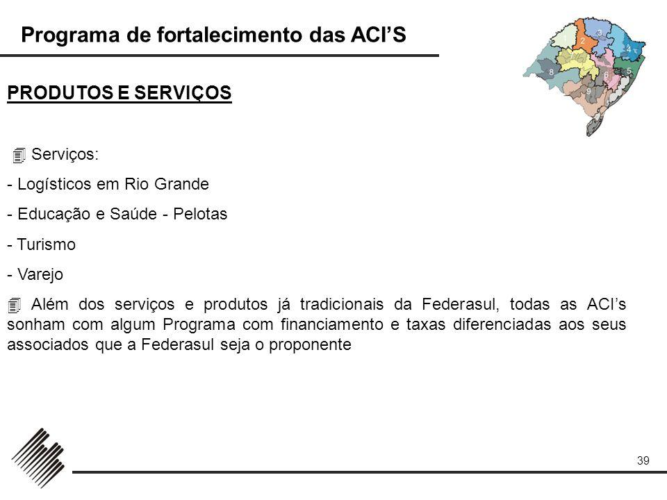 Programa de fortalecimento das ACIS 39 PRODUTOS E SERVIÇOS Serviços: - Logísticos em Rio Grande - Educação e Saúde - Pelotas - Turismo - Varejo Além d