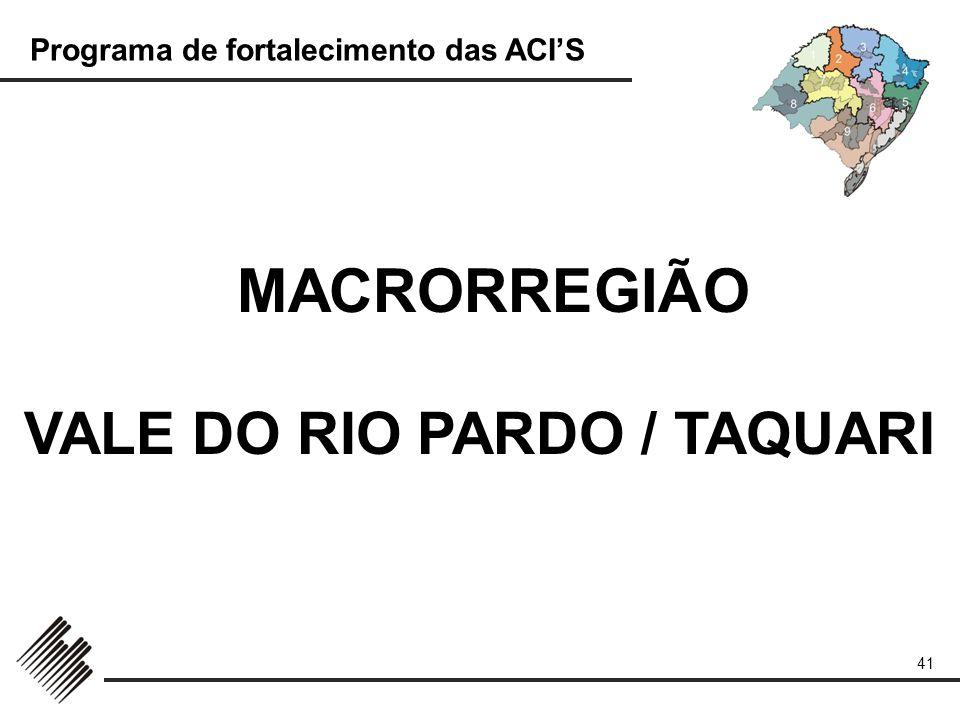 Programa de fortalecimento das ACIS 41 MACRORREGIÃO VALE DO RIO PARDO / TAQUARI